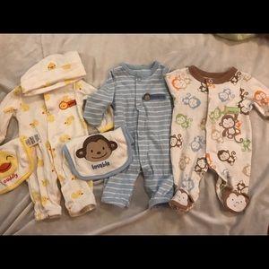 Carters preemie boy pajama lot of 3